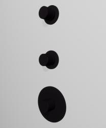 Zazzeri 4 wegs inbouwthermostaatkraan met 2 omstellers ronde knop en plaat mat zwart 1208760362