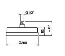 Zazzeri hoofddouche 200mm mat zwart 4700SO03A003131