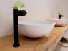 Zazzeri POP wastafel inbouwmengkraan mat zwart met uitloop siliconen groen 1208857762