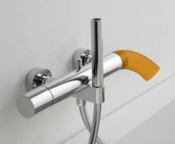Zazzeri POP opbouw badmengkraan met handdouche Mat zwart - silicone oranje 2100A400A003142